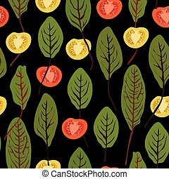 Chard and tomatoes, seamless vector pattern - Chard and...