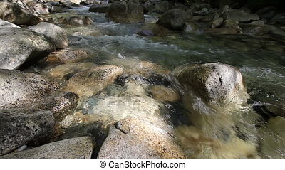 Water rushing along Creek 1080p - Water Flowing from...