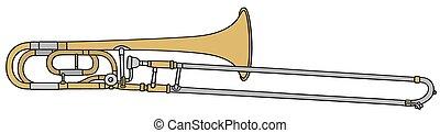 Trombone - Hand drawing of a classic slide trombone