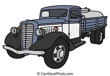 Old dairy tank truck - Hand drawing of a classic dairy tank...