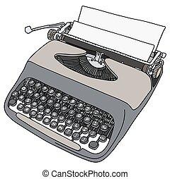 Typewriter - Hand drawing of an old gray portable typewriter