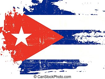 Scratched Cuban Flag