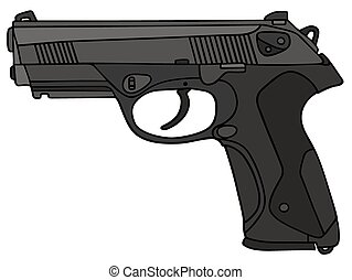 Handgun - Hand drawing of a handgun