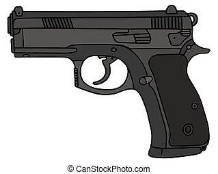 Handgun - Hand drawing of a handgun
