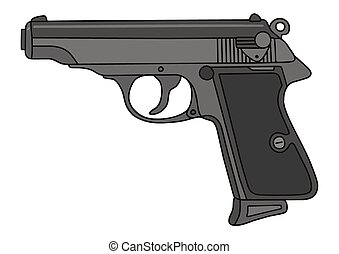 Handgun - Hand drawing of a classic handgun