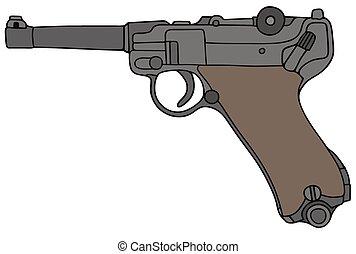 Niemcy, stary, pistolet ręczny, wojskowy