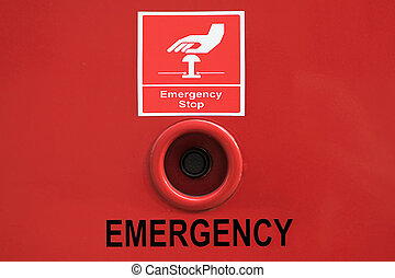 emergency stop button with sign