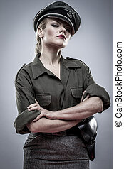Dominatrix, German officer in World War II, reenactment,...