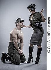 Prisoner, German officer in World War II, reenactment,...