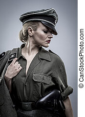 elegant, German officer in World War II, reenactment,...