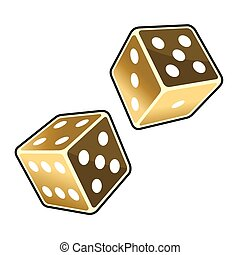 Two Golden Dice Cubes on White Background. Vector