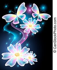 Neon butterflies and daisy - Neon butterflies and...