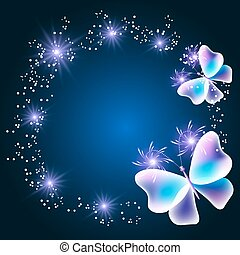 Fabulous transparent butterflies with shiny stars