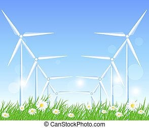 Wind turbines in the field with flowers