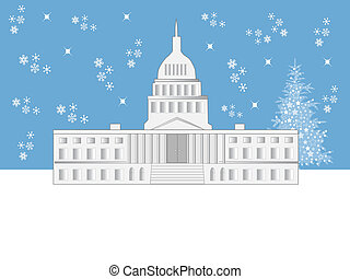 Washington DC Holiday Scene - An illustration of the Capitol...