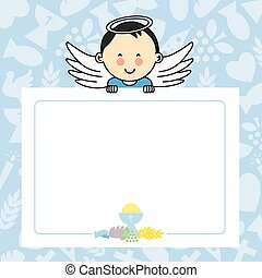 Baby boy with wings blank space for photo or text