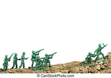 Toy Soldiers War - Toy soldiers march along the horizon in...