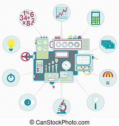 Machine with business icons