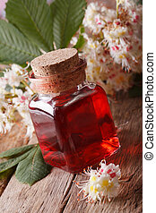 Chestnut Infusion of flowers in a bottle vertical closeup -...