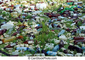 垃圾, 浪費, 池塘