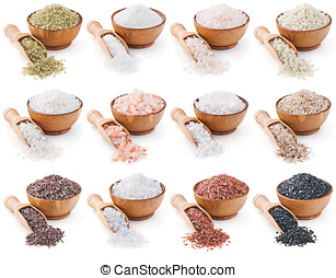 collection of different types of salt isolated on white...
