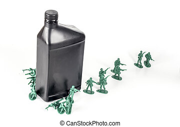 Army Men Oil - Toy army men with quart of oil symbolizing...