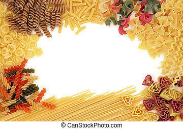 Pasta Border - Pasta dried food abstract border over white...