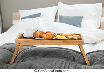 Breakfast On A Table Tray - Tasty Breakfast On A Wooden...