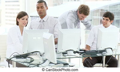 Young business team working in an office in 1080p HD