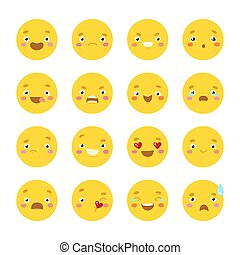 Set of smiley icons with different face Isolated on white...