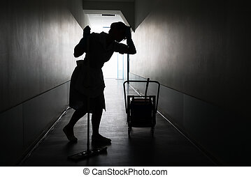 Silhouette Of Female Maid With Mop - Silhouette Of Tired...