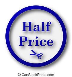 Half price icon. Blue internet button on white background.