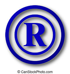 Registered mark icon. Blue internet button on white...