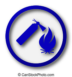 Fire icon Blue internet button on white background