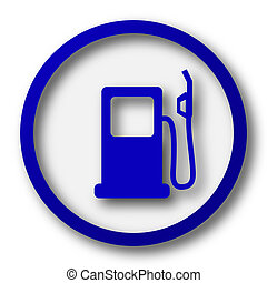 Gas pump icon. Blue internet button on white background.
