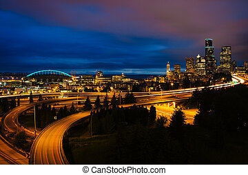 Night view of I-5 and the Seattle skyline from the Jose...