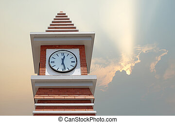 clock tower with beautiful sunbeam background