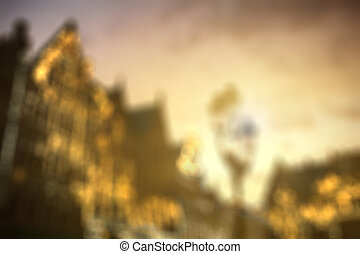 Blurred view of european city center houses - Defocused view...