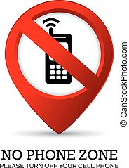 Turn off phone sign on white background