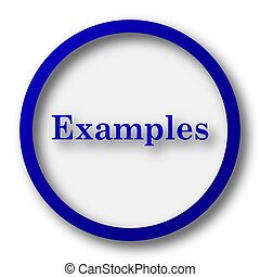 Examples icon. Blue internet button on white background.
