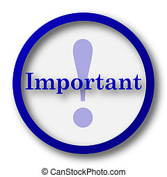Important icon Blue internet button on white background