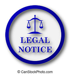 Legal notice icon. Blue internet button on white background....