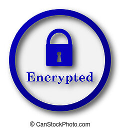 Encrypted icon. Blue internet button on white background.