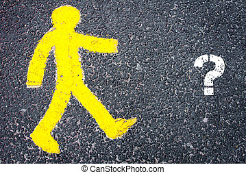 Yellow pedestrian figure walking towards Question Mark -...
