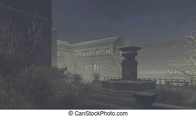Abandoned mansion at misty night - Camera flies through a...