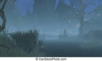 Abandoned park at misty night - Mystical foggy night in a...