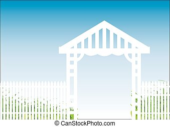 white fence blue background - white picket fence with a blue...