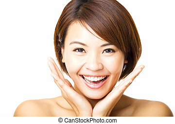 happy and beautiful young woman face