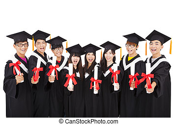 Group Of asian Students Celebrating Graduation