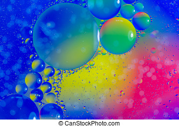 Bubble Worlds - Olive oil mixed with water and photographed...